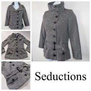 Womens Seductions Wool Blend Pea Coat Size Medium